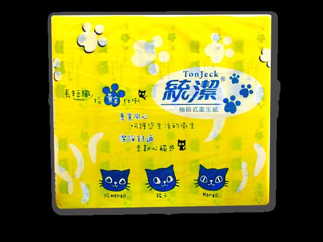 統潔黃藍版抽取式衛生紙100抽 1